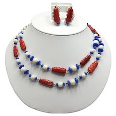 Hobé Red White and Blue Necklace and Earring Set
