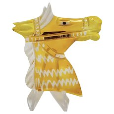 Lucite Horse Head Pin with Reverse Carved and Painted Zig Zag Design
