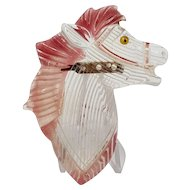 Clear Lucite Horse Head Pin with Flying Red Mane
