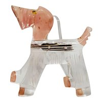 "Painted Carved Lucite ""Show"" Dog Pin"
