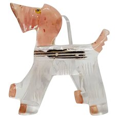 """Painted Carved Lucite """"Show"""" Dog Pin"""