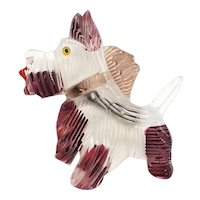 Lucite Reverse Carved and Painted Happy Terrier Pin