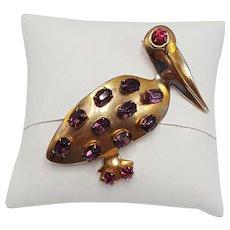 Purple and Fuchsia Stone-Studded Pelican Pin