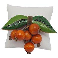 "Painted Wood Dangling ""Oranges"" Pin"