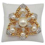 Faux Pearl and Clear Rhinestone Ciner Brooch/Pendant