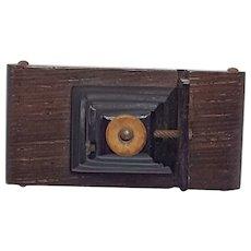 Rare Wood and Bakelite Camera Pin
