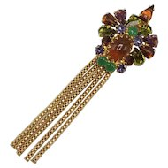 Hobé Brooch with Moving Tassel Tail