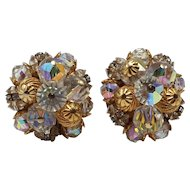Hattie Carnegie Round Clip-on Earrings with Original Paper Tag