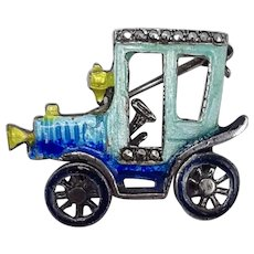 Alice Caviness Finely Detailed Enamel on 925 Sterling Old Fashioned Car Pin—Front Wheel Moves
