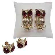 Pair of Big Red-Eyed Corocraft Owl Dress Clips and Screw-Back Earrings