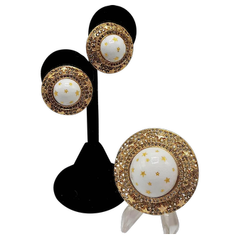 "Rare Nettie Rosenstein ""Stars"" Brooch and Matching Clip-on Earring Set in White and Gold-tones"