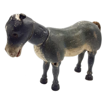 Schoenhut Toy Donkey With Glass Eyes and Movable Joints Well-Strung and Poses Well