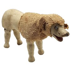 Original Schoenhut Toy Poodle with Movable Joints and Glass Eyes