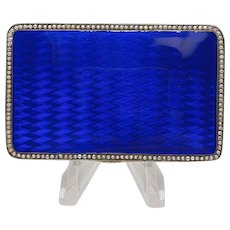 Fine European Blue Enamel Box with Seed Pearls of 835 Sterling with Gold Wash Interior