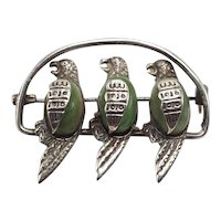 Mexican Sterling and Moss Agate Pin of Three Parrots on a Perch