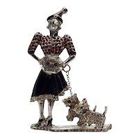 1940s Rare Staret Woman Walking Dogs Trembler Rhinestone Brooch