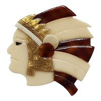 Vintage Léa Stein Indian Chief Head Pin in Tan/Brown and Gold-tone