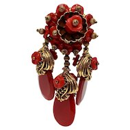 Unsigned Dimensional Larry Vrba-look Red and Gold-tone Brooch with Red and Gold-tone Dangles