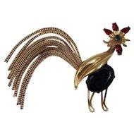Rare Whimsical Napier Rooster Brooch with Movable Chain Tail and Bright Red Comb