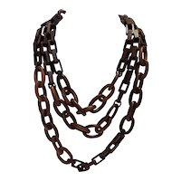 Fabulous Erickson Beamon Extra Long Wood Chain Necklace with Differing Links