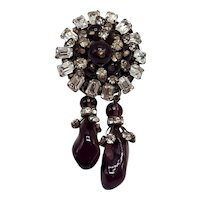 Charming French Brooch of Purple and Clear Rhinestones with Purple Poured Glass Dangles