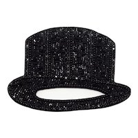 Emporio Armani Black Silk and Beaded Top Hat Brooch