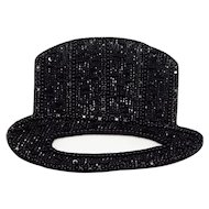 Emporio Armani Black Silk and Beaded Top HatBrooch