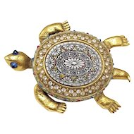 Rare 1940s CoroCraft Turtle Brooch with Pietra dura Back and Heavy Gold-tone Gilt