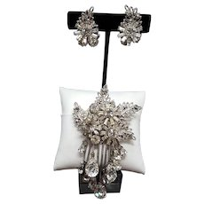 DeMario Silver-tone and Clear Rhinestone Floral Leaves Brooch with Dangling Prong-Set Stones and Earrings