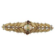 1950s Wide Bar-Style Hobé Brooch With Frosted Café Latte and Aurora Borealis Stones