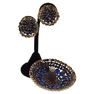 Vintage Mexican Sombrero Brooch Studded With Rhinestones and Matching Screw-Back Earrings
