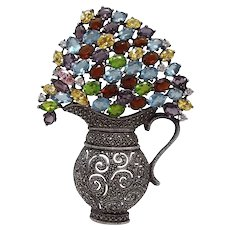 Large Statement Sterling Floral Bouquet With Openwork Vase