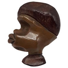 Stylized Wood and Copper Figural Profile of an African Woman's Head