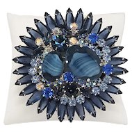 Juliana Vintage Rhinestone Brooch In Shades of Blue with Silver Tone Accents