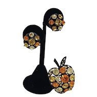 1960s Black Japanned Apple Pin and Earring Set in Bold Orange and Yellow Colors