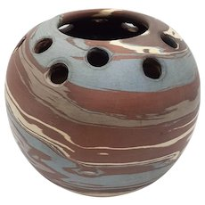 Niloak Mission-swirl Pottery Bulbous-Shaped Flower Bowl with Holes