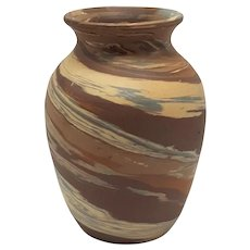 Seven-Inch High Bulbous-shaped Niloak Mission-swirl Pottery (1909-1946) Vase