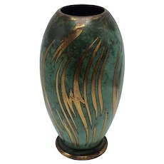 Art Deco Style MWF Ikora Metal Art Vase with Green Fire Patina, Germany