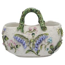 English Victorian Porcelain Barbotine Flower Encrusted Basket with Handle