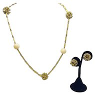 """Vogue Necklace and Earring Set With Yellow Enamel Panels and 3-D """"Sputnik"""" Balls"""