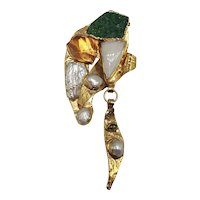 """Contemporary """"Healing Power"""" 9k Gold Pin/Pendant with Mix of Stones and Minerals"""