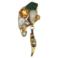 "Contemporary ""Healing Power"" 9k Gold Pin/Pendant with Mix of Stones and Minerals"