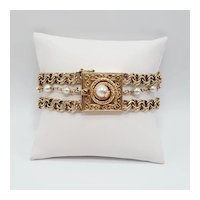 Vintage Cultured Pearl and Triple Strand 14k Yellow Gold Bracelet with Coiled Snake Clasp