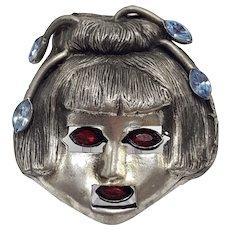 """""""Alien Geisha"""" Figural Brooch by H. Pomerantz, Inc. N.Y."""