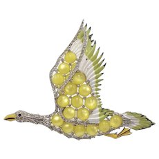 Important and Very Large Flying Goose Brooch with Enamel and Lime Green Moonstones