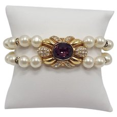 Christian Dior Faux Pearl and Amethyst Bracelet