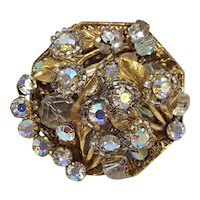 Original by Robert Domed Brooch with Leaves and Aurora Borealis Stones