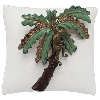 Vintage Monkey in Palm Tree Brooch With Green Enamel and Rhinestone-Dotted Leaves