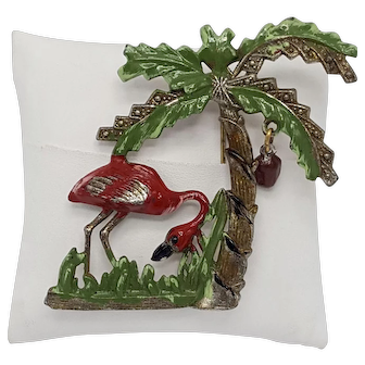 Vintage Palm Tree Brooch With Deep Pink Enamel Flamingo, Swinging Coconut and Brass Metal-Dotted Leaves