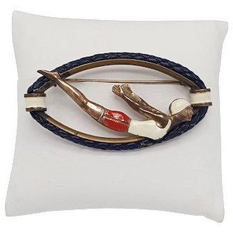 Vintage 1930s Pin of Diver with Brass, Enamel and Leather Roping